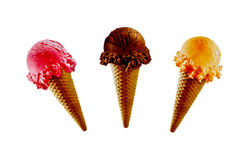 Three ice-cream cones Stock Photo