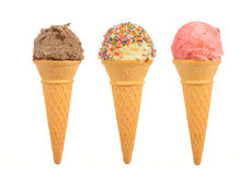 Three ice cream cones isolated on white background Royalty Free Stock Images