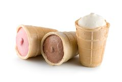 Three ice cream Isolated Stock Image