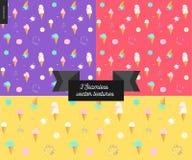 Three Ice cream seamless patterns Stock Photography