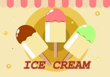 Three ice creams on a stick stock image
