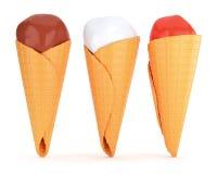 Three ice creams in waffle cones Royalty Free Stock Photo