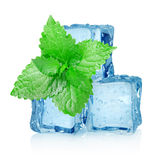 Three Ice Cubes And Mint Royalty Free Stock Photo