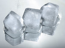Three ice cubes with reflection Royalty Free Stock Images