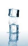 Three ice cubes stacked Stock Images