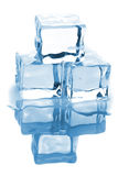 Three ice cubes with water Royalty Free Stock Images