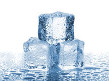 Three ice cubes with water drops Royalty Free Stock Photography