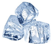Three ice cubes on white background. Royalty Free Stock Photography