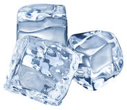 Three ice cubes on white background. Stock Photo