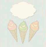 Three icecream cones with a blank label. Decorative summer design of three icecream cones in soft pastel colours on a striped background with an ornamental blank Stock Image