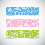 Three icon texture web banners headers vector. Set of three web banners with icon textures Stock Images