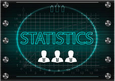 Three icons and word `statistics` on a dark background. Word `statistics` on a dark background. 2d illustration Stock Photo