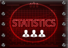 Three icons and word `statistics` on a red background. Word `statistics` on a red background. 2d illustration Royalty Free Stock Photography