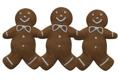 Three identical ginger bread in the shape of humans. A computer generated illustration image of three identical ginger bread in the shape of humans against a stock illustration