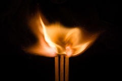 Three Igniting Matches Royalty Free Stock Image