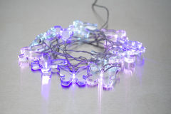 Three Illuminated Crystal Clear Butterfly Lights Stock Images