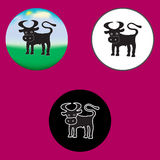 Three illustrations of the bull Stock Image