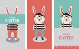 Three illustrations of Hipster rabbits Royalty Free Stock Photography