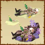 Three image of a sunken skeleton with bottle Stock Images