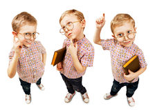 Three images cute pupil boy Royalty Free Stock Photo
