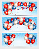 Three Independence Day banners. Royalty Free Stock Images
