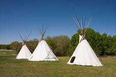 Three Indian Teepees royalty free stock photos