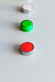 Three industrial buttons in a row Royalty Free Stock Images