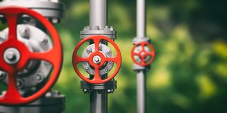Industrial pipelines and valves on blur green background, banner. 3d illustration Stock Photography