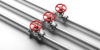 Industrial pipelines and valves on white background. 3d illustration. Three industrial pipelines and valves with red wheels on white background. 3d illustration Stock Photography
