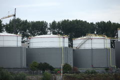 Three industrial storage tanks Royalty Free Stock Photography