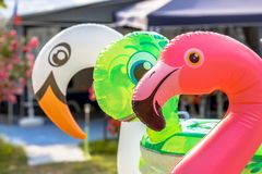 Three inflatable animals stock photos