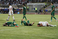 Three injured players. During the Romanian League 1 relegation play-off between Rapid Bucharest and Concordia Chiajna. Rapid won, 2-1 after extra time Stock Photo