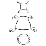Three Ink Drawn Frames Stock Photography