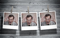 Three instant photos of an angry businessman Royalty Free Stock Image