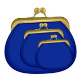 Three insulated blue purses. the icon with the purse. Wallet, pouch Stock Image
