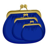Three insulated blue purses. the icon with the purse. Wallet, pouch Stock Images