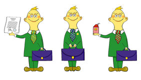 Three insurance agents with a briefcase. Cute illustration hand drawn Stock Image