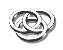 Three interlaced metal rings. An illustration of Three shiny interlaced metal rings Stock Photo