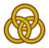 Three interlocking gold rings - Celtic knot Stock Illustration