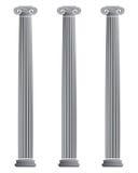 Three Ionic Columns. Architectural ionic column vector illustration Stock Photo