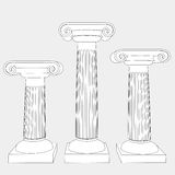 Three ionic columns line art  Royalty Free Stock Photos