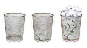 Three iron trashes bin isolated on white. Background Stock Photography