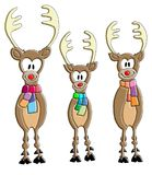 Three ironic reindeers smiling with the scarf. Three ironic reindeers smiling with colored scarf and red nose Stock Photos