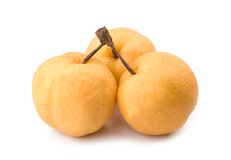 Three isolated asian-pear fruit with stem Stock Photo