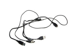 Three Isolated Black Intertwined USB Cables on White Stock Photos