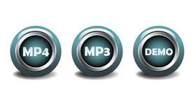 MP4, MP3 and demo buttons. Three isolated blue glossy buttons for MP4 and MP3 digital multimedia formats used to store audio and video Stock Photo