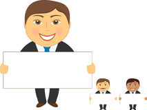 Three isolated cartoon businessman with poster in Stock Image