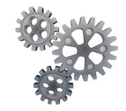 Three isolated cogwheels in action Royalty Free Stock Photos