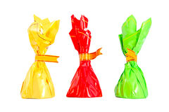 Three isolated colorful candies Royalty Free Stock Photo