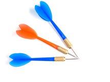 Three isolated darts Stock Photo